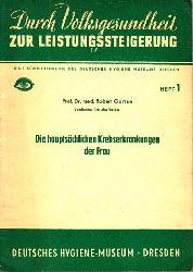 Gänse, Robert;  Die hauptsächlichen Krebserkrankungen der Frau Eine Schriftenreihe des Deutschen Hygiene Museums Dresden Heft 1