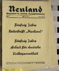 Neuland.  Neuland. Monatsschrift für praktische Rauschgiftbekämpfung.  Heft 1/2 1941. Heft 6 1939. 3 Hefte.