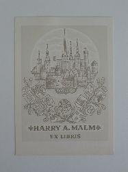 Naha, Johann:  Exlibris für Harry A. Malm. Motiv: Stadtansicht, unten zahlreiche Wappen