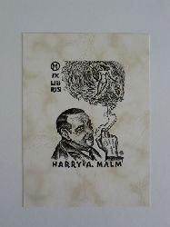 Naha, Johann:  Exlibris für Harry A. Malm. Motiv: Mann mit Zigarette, in deren Rauch schwebt ein weiblicher Akt mit Harfe und Trauben in den Händen