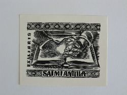 Naha, Johann:  Exlibris Saimi Anttila. Motiv: Gefaltete Hände auf Buch