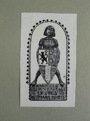 Pfeiffer, Hermann:  Exlibris für Hermann Schott. Motiv: Knabe mit Schild. Dazu Text: Besser gutlos denn ehrlos