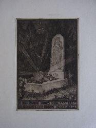 Nagy, Arpad:  Exlibris bzw. Graphik. In Memoriam Matris Meae 17.V.1937 Dr. Colomanni Arady de Vizkelet. Motiv: Grabstelle