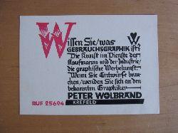 Wolbrandt [auch Wolbrand], Peter:  Graphik von Peter Wolbrand. Text: Wissen Sie was Gebrauchsgraphik ist?