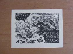 Wolbrandt [auch Wolbrand], Peter:  Neujahrsgraphik von Peter Wolbrandt für H. J. de Swart. Motiv: Heißluftballon vor Sonne. Text. Een vracht geluk en weinig verdriet in 1956