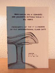 Secrétariat général permanent des journées internationales du verre:  Programme du 4e congrès des journées internationale du verre, Ravenne et Venise 1967 / Programme of the 4th Congress of the International Glass Days, Ravenna and Venice, 1967