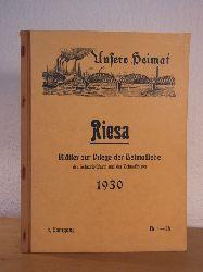 Uhlemann, Heinrich (Red.):  Riesa. Unsere Heimat. Blätter zur Pflege der Heimatliebe, der Heimatforschung und des Heimatschutzes. 3. Jahrgang 1930, Nr. 1 - 54