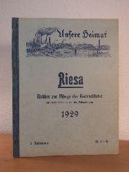 Uhlemann, Heinrich (Red.):  Riesa. Unsere Heimat. Blätter zur Pflege der Heimatliebe, der Heimatforschung und des Heimatschutzes. 2. Jahrgang 1929, Nr. 1 - 56