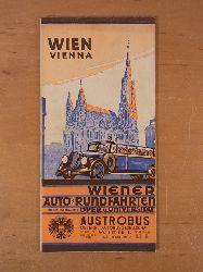 Austrobus -  Österreichische Autobusgesellschaft:  Wien - Vienna. Wiener Auto-Rundfahrten. Plan der Sehenswürdigkeiten. Überreicht durch Austrobus