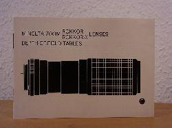 Minolta Camera Company:  Minolta Zoom Rokkor - Rokkor-X Lenses - Depth-of-Field Tables. Owner`s Manual