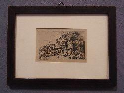Kobell, Ferdinand von (1740 - 1799):  Ferdinand von Kobell. Original-Radierung. Ärmliches Gehöft. Mit Rahmen und Passepartout
