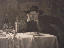 Trübner, Wilhelm und Dr. E. Albert:  Beim Römischen Wein. Heliogravüre von Dr. E. Albert nach einem Motiv von Wilhelm Trübner