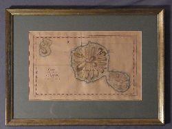 Bellin, Jacques-Nicolas und Robert Benard:  Carte de l`isle de Taiti, par le lieutenant J. Cook 1769. Antike Landkarte von Tahiti. Mit hochwertigem Rahmen