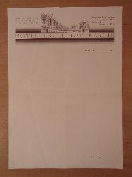 Hotel Excelsior Berlin:  Hotel Excelsior. Briefbogen / Briefpapier aus den 1940er Jahren. Unbenutzt / blanko
