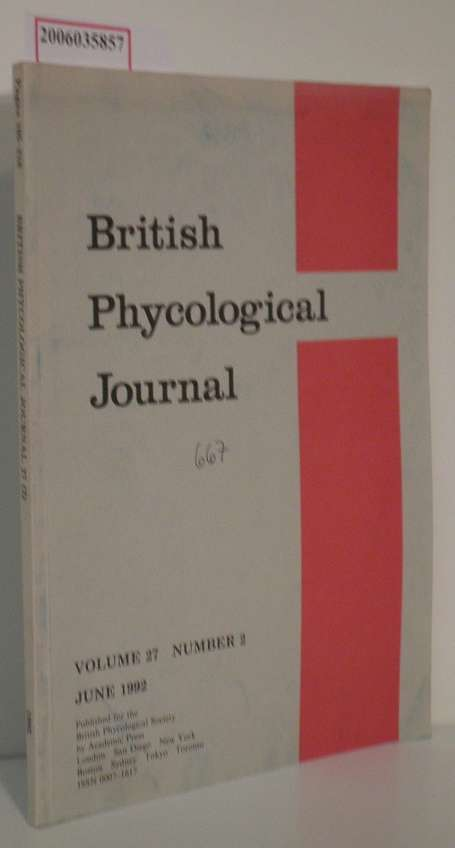 Dr. B. A. Whitton  Dr. B. A. Whitton British Phycological Journal