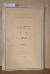 Brenner, Hans-Georg  Brenner, Hans-Georg Sonette eines Sommers