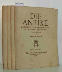 """Werner Jaeger ( Hrg. )  Werner Jaeger ( Hrg. ) """"DIE ANTIKE Zeitschrift für Kunst und Kultur des klassischen Altertums; Band X; Hefte 1-4"""""""