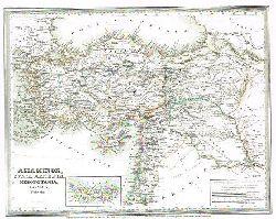 Asia Minor, Syria, Armenia, Mesopotamia, Assyria, Palestina:  Grenzkolorierte Karte aus Meyer´s Groschen-Atlas.