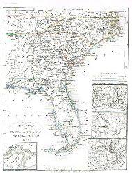 N. & S. Carolina Georgia & Florida, Gold-Region von Nord Carolina:  Grenzkolorierte Karte aus Meyer´s Groschen-Atlas.