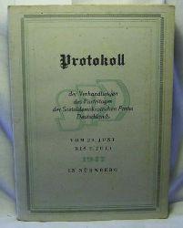 Protokoll der Verhandlungen des Parteitages der Sozialdemokratischen Partei Deutschlands vom 29. Juni bis 2. Juli 1947,in Nürnberg.