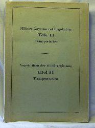 Military Government Regulations, Title 14, Transportation ,Vorschriften der Militärregierung, Titel 14, Transport