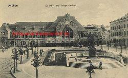 Historische Ansicht aus Deutschland um 1900,  Aachen/Bahnhof und Kriegerdenkmal, 19x13cm