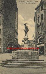 Historische Ansicht aus Deutschland um 1900,  Aachen/Brunnen auf dem Hühnermarkt, 19x13cm