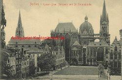 Historische Ansicht aus Deutschland um 1900,  Aachen/Kaiserdom (Nordseite) und St. Foilanskirche, 19x13cm
