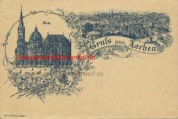 Historische Ansicht aus Deutschland um 1900,  Aachen/Kaiserdom; Stadtansicht, 19x13cm