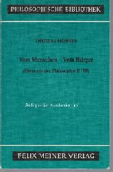 Gawlick, Günter; Hobbes, Thomas  Vom Menschen. Vom Bürger.,Elemente der Philosophie II/ III