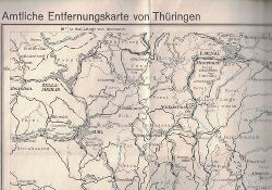 Vermessungsdienst Thüringen  Amtliche Entfernungskarte von Thüringen. Blatt VI. Maßstab 1 : 100000.,Bearb. 1931 v. Thür. Neumessungsamt in Weimar, berichtigt u. Druck v. Vermessungsdienst Thüringen 1954.