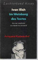 """Illich, Ivan  Im Weinberg des Textes: Als das Schriftbild der Moderne entstand,Ein Kommentar zu Hugos """"Didascalicon"""""""
