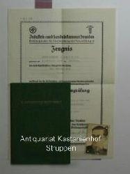 Kaufmannsgehilfenbrief. Mitarbeiter der Firma Küttner A.G. Pirna.