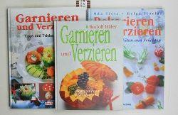 Biller, Rudolf/Tietz, Oda ; Florian, Helga  Konvolut 3 Bücher Essen garnieren. 1. Garnieren und Verzieren.,2. Dekorieren und verzieren. Mit Gemüse, Blüten und Früchten.