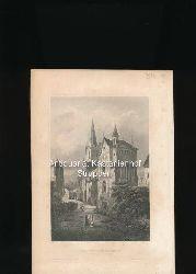 Der Tempelherrnhof in Bacharach am Rhein - Original-Stahlstich,Aus d. Kunstanst. d. Bibliogr. Instit. in Hildbh.