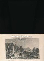 Ruines du chateau de Sayn. Ruins of the Castle of Sayn. Ruinen des Schlosses von Sayn - Original-Stahlstich