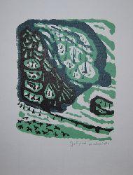 Teuber, Gottfried  Winterwald. Original-Grafik handsigniert.