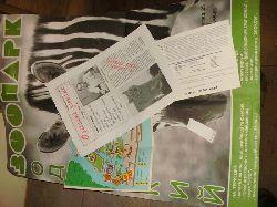 Konvolut von 4 Kleinschriften u.ä. Zoo Odessa  1 Plakat, eine Zeitschrift, ein Faltplan (Zooführer) des Zoos und eine Postkarte  alle ca. 90 er Jahre ( russischsprachig !)