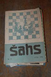 Konvolut lettischer Schachzeitschriften  Sahs : Heft 13 1973; 5,13 1975; 1,2,6,8,13,21 1976; 5,16 1977; 22 1978