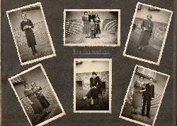 Fotoalbum 1939-1940 aus der Prignitz mit 189 Amateurfotografien. Typische Familienbilder: Konfirmation, Hochzeit, Ausflüge, bei der Arbeit. Überwiegend junge Frauen, einige Kinder, einige posierende Soldaten und Matrosen (keine Kampfhandlungen). Auf dunkl